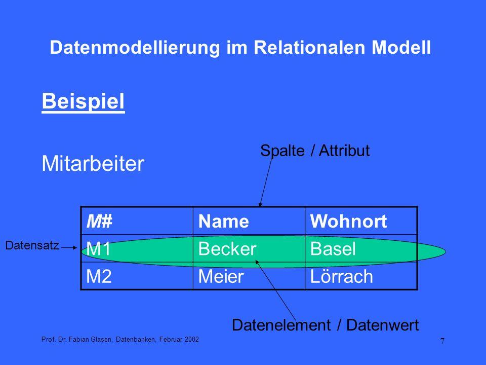 8 Datenmodellierung im Relationalen Modell Beziehung Tabelle / Relationen R= {(M1, Becker, Basel), (M2, Meier, Lörrach)} Prof.