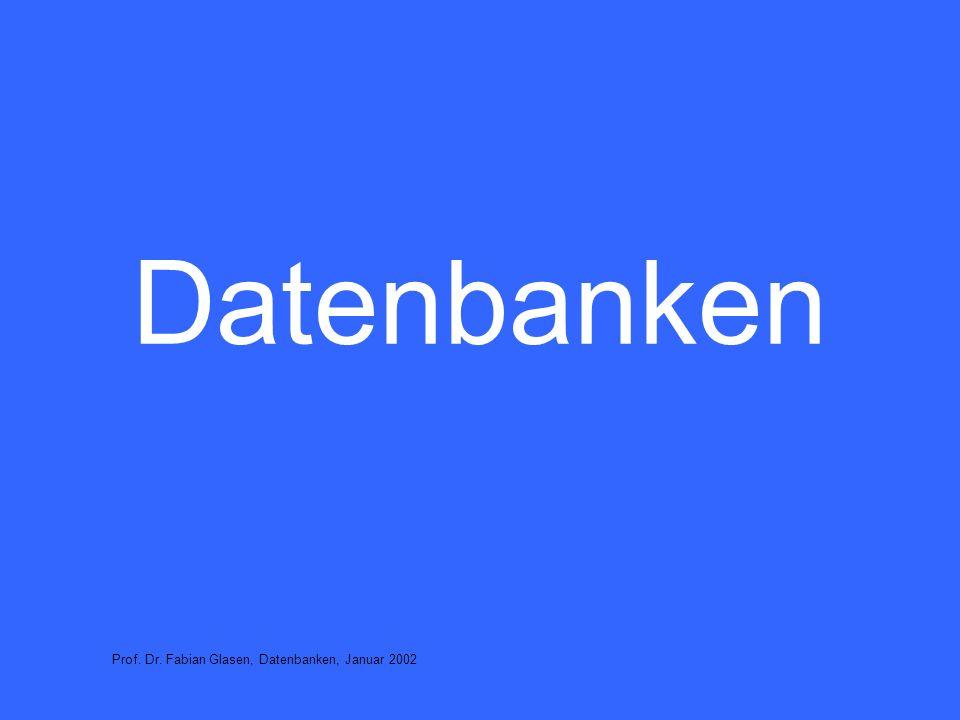 32 Anwendertätigkeiten Daten suchen, anschauen Datenpflege (Aktualisierung der Daten) –neue Daten eingeben –vorhandene Daten löschen –vorhandene Daten verändern Prof.