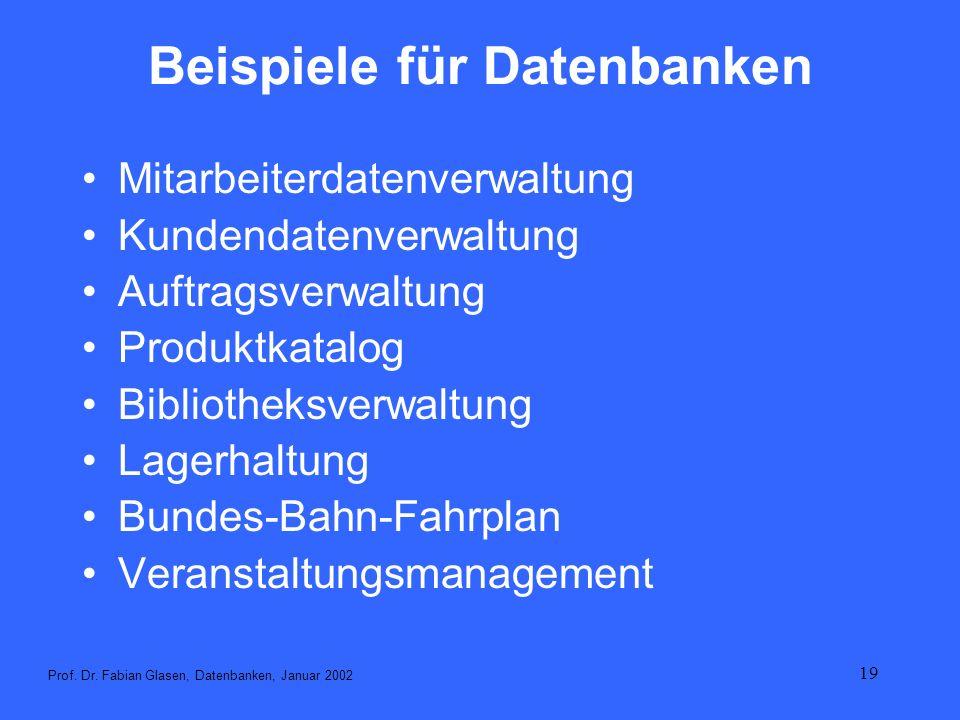 19 Beispiele für Datenbanken Mitarbeiterdatenverwaltung Kundendatenverwaltung Auftragsverwaltung Produktkatalog Bibliotheksverwaltung Lagerhaltung Bun