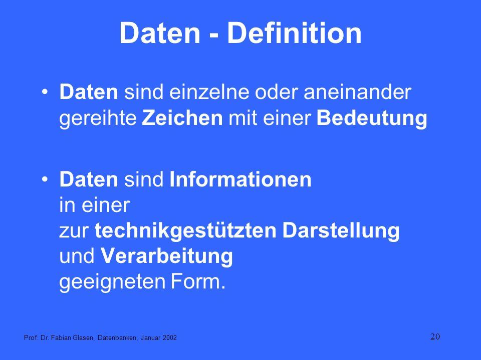 20 Daten - Definition Daten sind einzelne oder aneinander gereihte Zeichen mit einer Bedeutung Daten sind Informationen in einer zur technikgestützten
