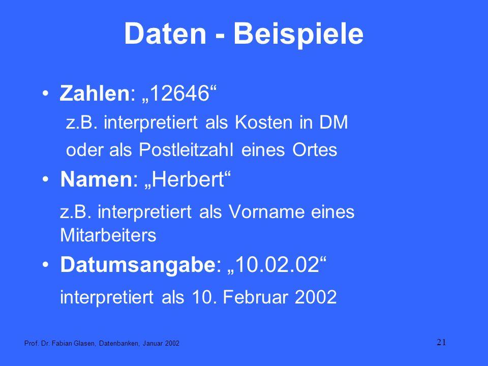 21 Daten - Beispiele Zahlen: 12646 z.B. interpretiert als Kosten in DM oder als Postleitzahl eines Ortes Namen: Herbert z.B. interpretiert als Vorname