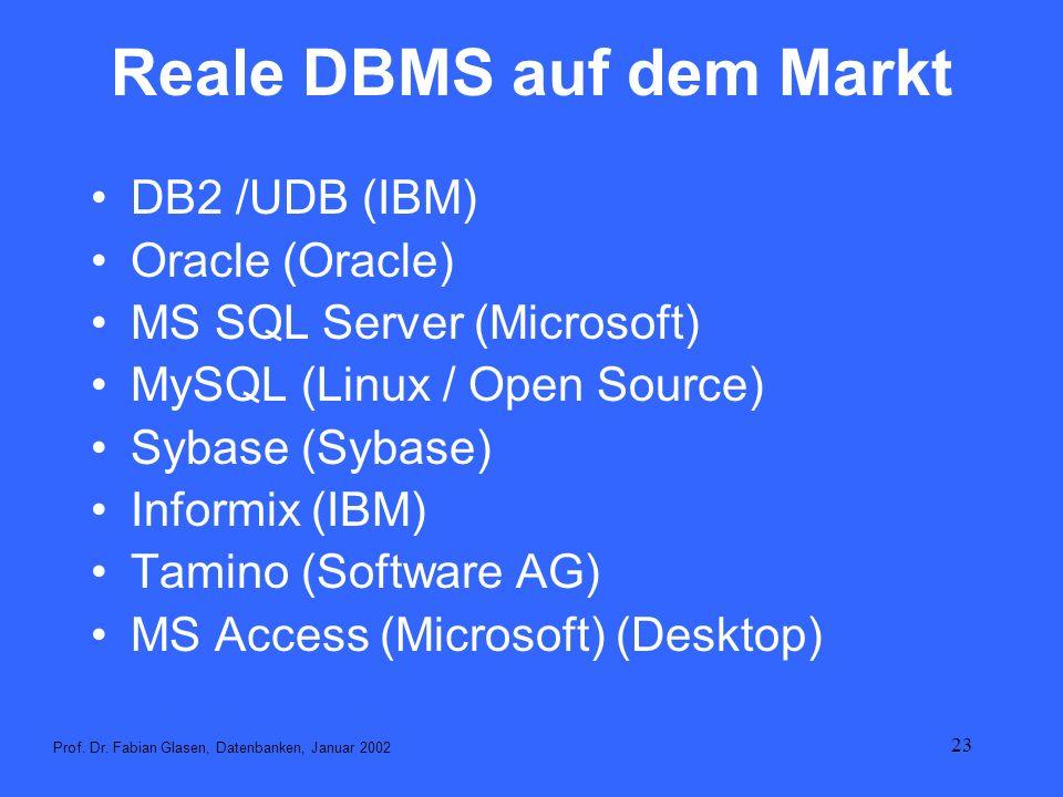 23 Reale DBMS auf dem Markt DB2 /UDB (IBM) Oracle (Oracle) MS SQL Server (Microsoft) MySQL (Linux / Open Source) Sybase (Sybase) Informix (IBM) Tamino