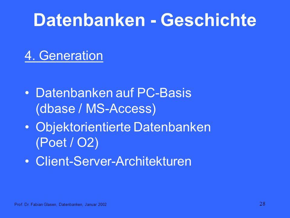 28 Datenbanken - Geschichte 4. Generation Datenbanken auf PC-Basis (dbase / MS-Access) Objektorientierte Datenbanken (Poet / O2) Client-Server-Archite