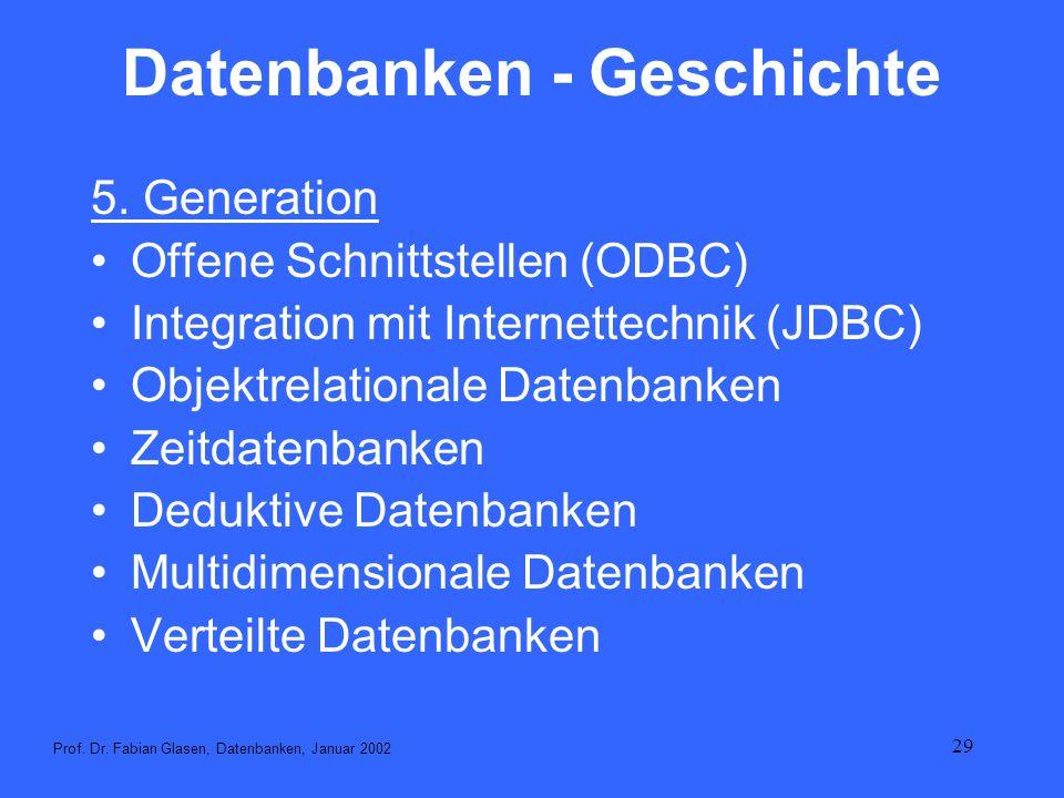 29 Datenbanken - Geschichte 5. Generation Offene Schnittstellen (ODBC) Integration mit Internettechnik (JDBC) Objektrelationale Datenbanken Zeitdatenb