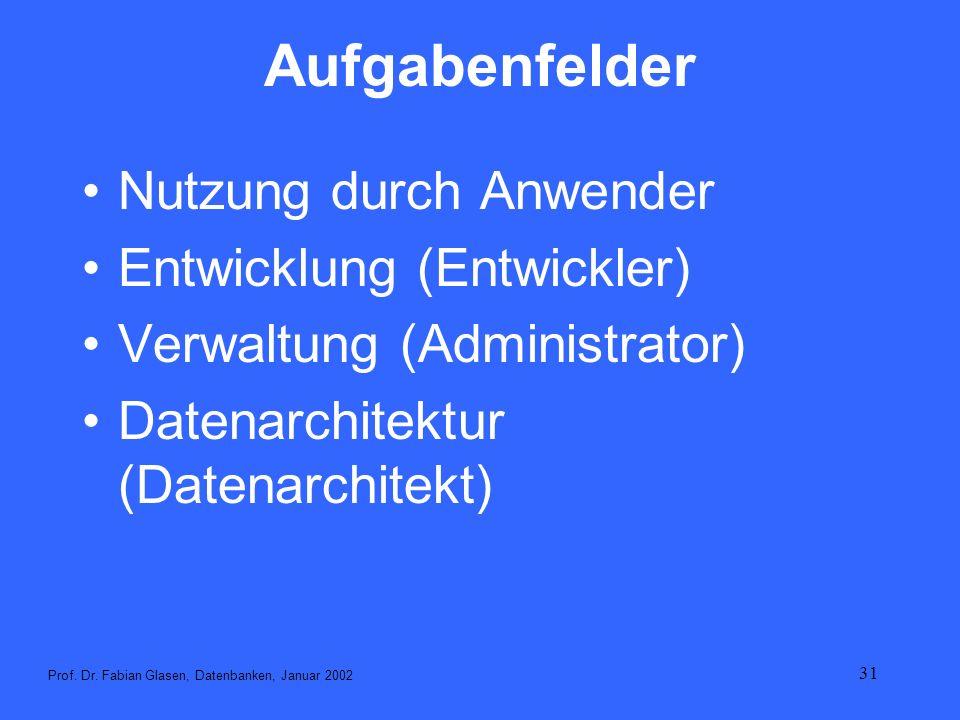 31 Aufgabenfelder Nutzung durch Anwender Entwicklung (Entwickler) Verwaltung (Administrator) Datenarchitektur (Datenarchitekt) Prof. Dr. Fabian Glasen