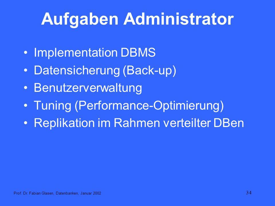 34 Aufgaben Administrator Implementation DBMS Datensicherung (Back-up) Benutzerverwaltung Tuning (Performance-Optimierung) Replikation im Rahmen verte