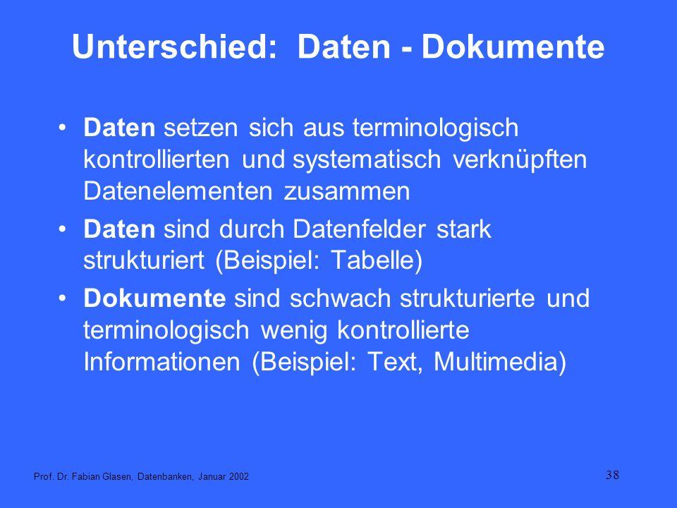 38 Unterschied: Daten - Dokumente Daten setzen sich aus terminologisch kontrollierten und systematisch verknüpften Datenelementen zusammen Daten sind