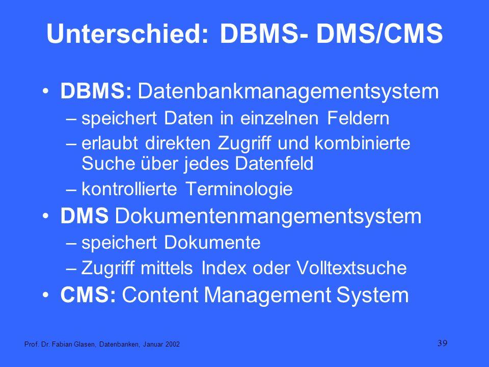 39 Unterschied: DBMS- DMS/CMS DBMS: Datenbankmanagementsystem –speichert Daten in einzelnen Feldern –erlaubt direkten Zugriff und kombinierte Suche üb