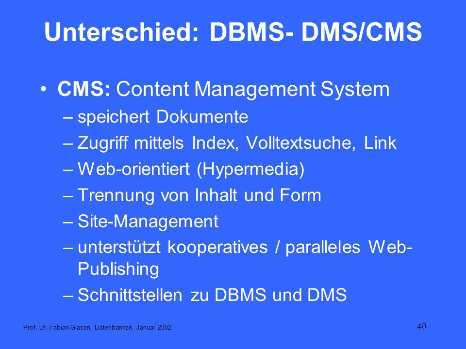 40 Unterschied: DBMS- DMS/CMS CMS: Content Management System –speichert Dokumente –Zugriff mittels Index, Volltextsuche, Link –Web-orientiert (Hyperme