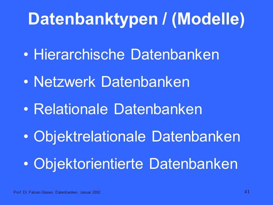 41 Datenbanktypen / (Modelle) Hierarchische Datenbanken Netzwerk Datenbanken Relationale Datenbanken Objektrelationale Datenbanken Objektorientierte D