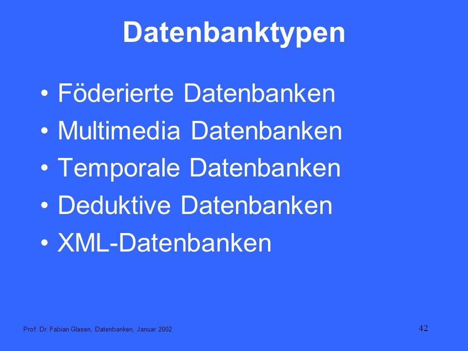 42 Datenbanktypen Föderierte Datenbanken Multimedia Datenbanken Temporale Datenbanken Deduktive Datenbanken XML-Datenbanken Prof. Dr. Fabian Glasen, D