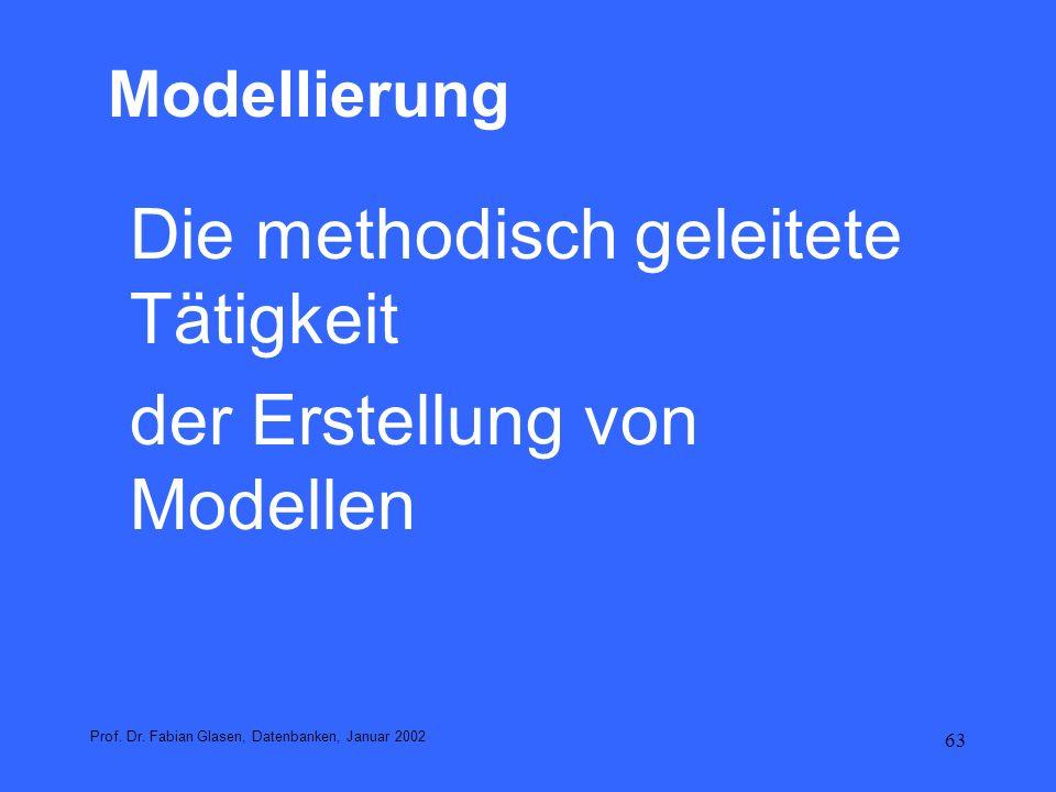 63 Modellierung Die methodisch geleitete Tätigkeit der Erstellung von Modellen Prof. Dr. Fabian Glasen, Datenbanken, Januar 2002