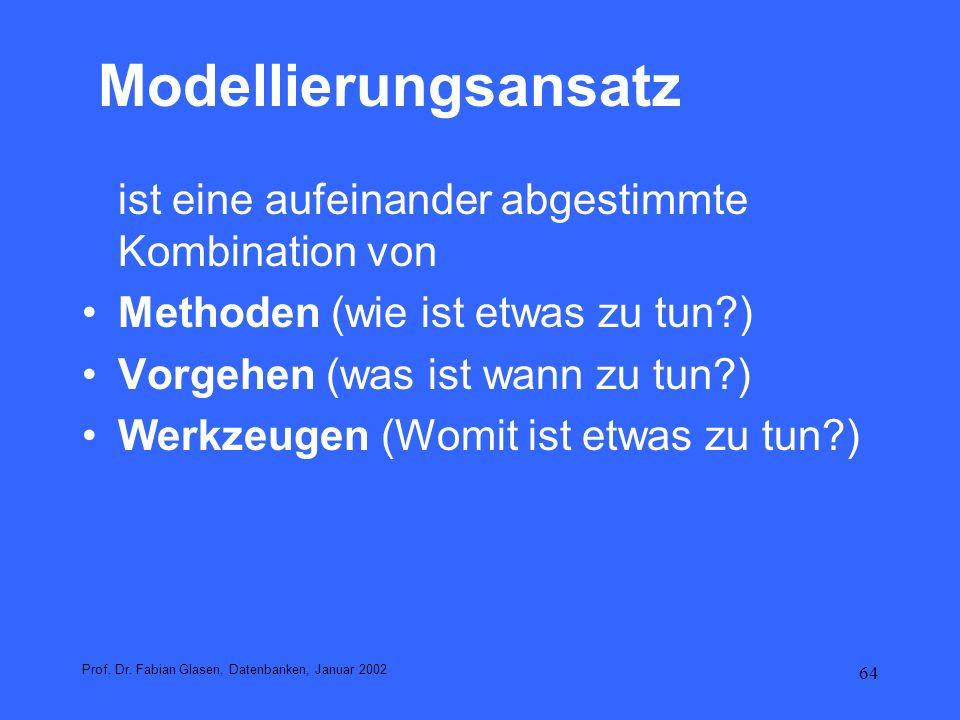 64 Modellierungsansatz ist eine aufeinander abgestimmte Kombination von Methoden (wie ist etwas zu tun?) Vorgehen (was ist wann zu tun?) Werkzeugen (W