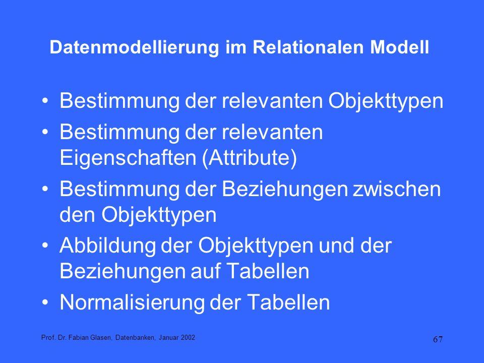 67 Datenmodellierung im Relationalen Modell Bestimmung der relevanten Objekttypen Bestimmung der relevanten Eigenschaften (Attribute) Bestimmung der B