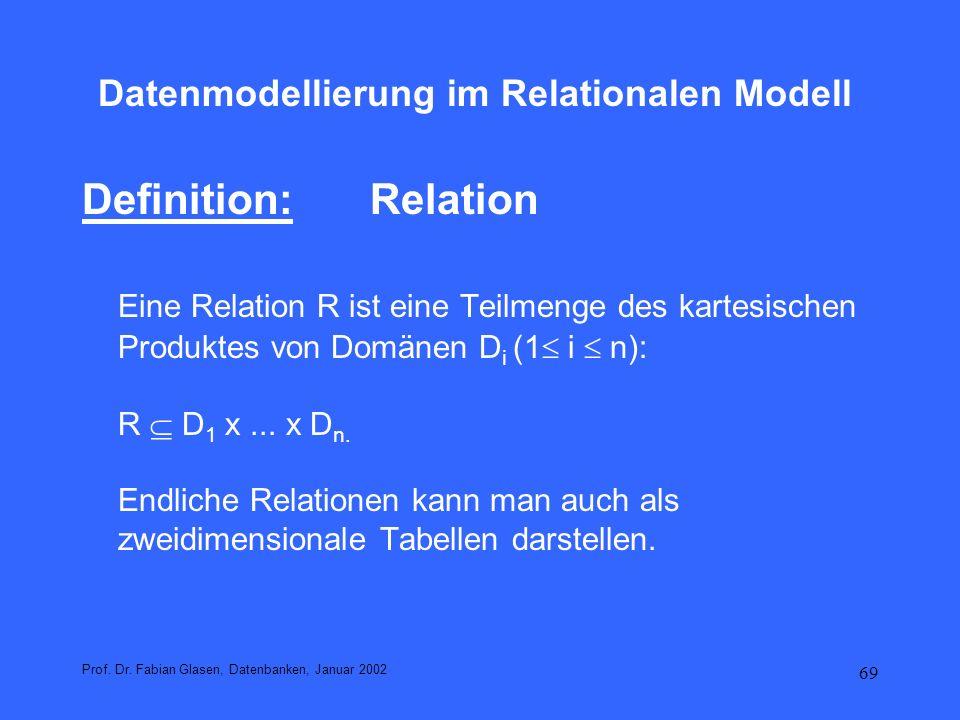 69 Datenmodellierung im Relationalen Modell Definition:Relation Eine Relation R ist eine Teilmenge des kartesischen Produktes von Domänen D i (1 i n):