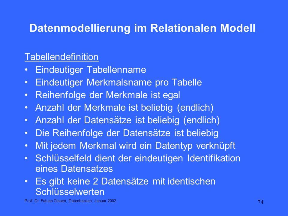 74 Datenmodellierung im Relationalen Modell Tabellendefinition Eindeutiger Tabellenname Eindeutiger Merkmalsname pro Tabelle Reihenfolge der Merkmale