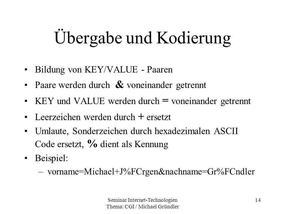 Seminar Internet-Technologien Thema: CGI / Michael Gründler 14 Übergabe und Kodierung Bildung von KEY/VALUE - Paaren Paare werden durch & voneinander