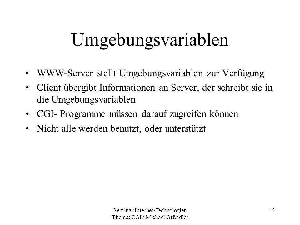Seminar Internet-Technologien Thema: CGI / Michael Gründler 16 Umgebungsvariablen WWW-Server stellt Umgebungsvariablen zur Verfügung Client übergibt I
