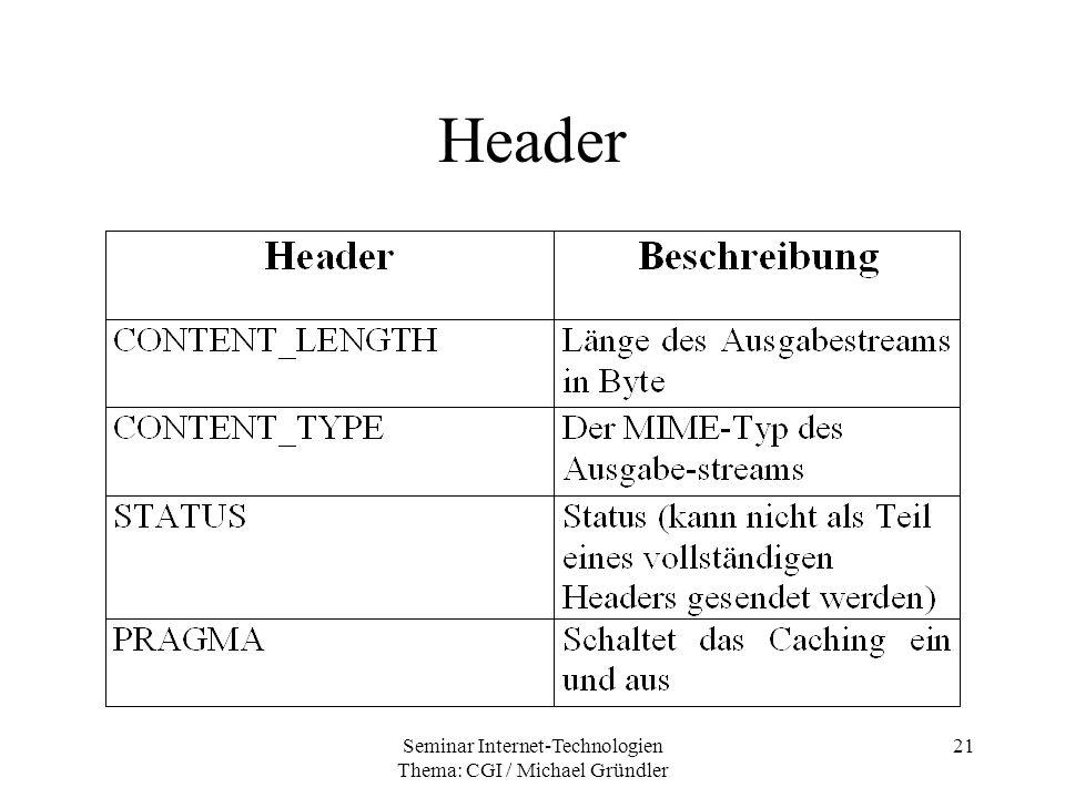Seminar Internet-Technologien Thema: CGI / Michael Gründler 21 Header