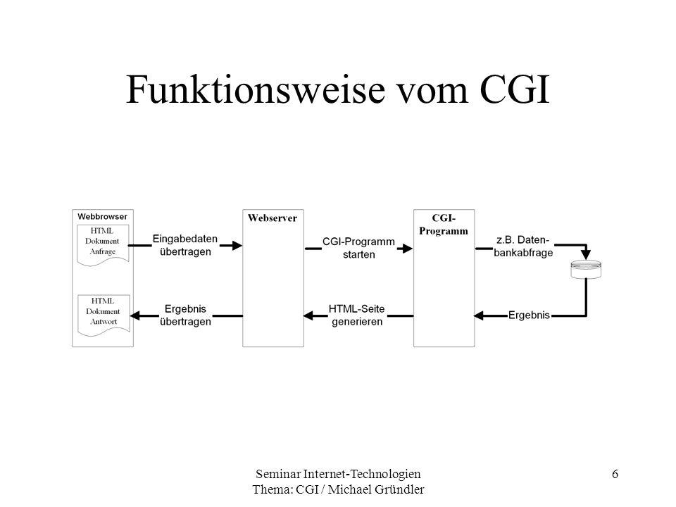Seminar Internet-Technologien Thema: CGI / Michael Gründler 17 Umgebungsvariablen