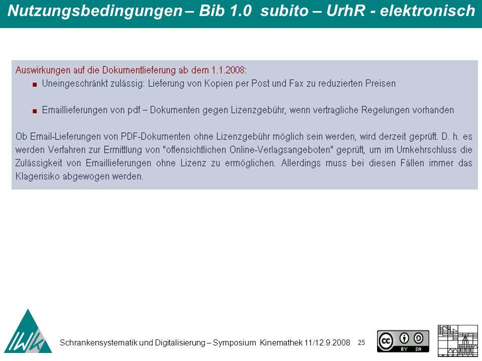 Schrankensystematik und Digitalisierung – Symposium Kinemathek 11/12.9.2008 25 Nutzungsbedingungen – Bib 1.0 subito – UrhR - elektronisch