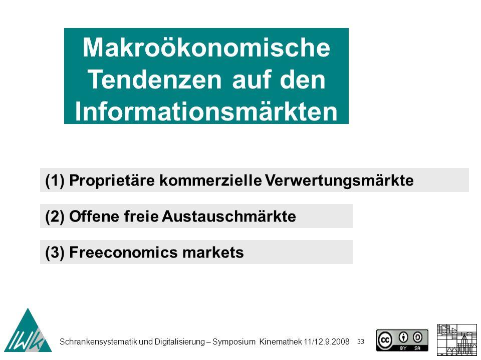Schrankensystematik und Digitalisierung – Symposium Kinemathek 11/12.9.2008 33 Makroökonomische Tendenzen auf den Informationsmärkten (1) Proprietäre kommerzielle Verwertungsmärkte (2) Offene freie Austauschmärkte (3) Freeconomics markets