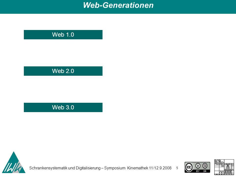 Schrankensystematik und Digitalisierung – Symposium Kinemathek 11/12.9.2008 5 Web-Generationen Web 3.0 Web 1.0 Web 2.0
