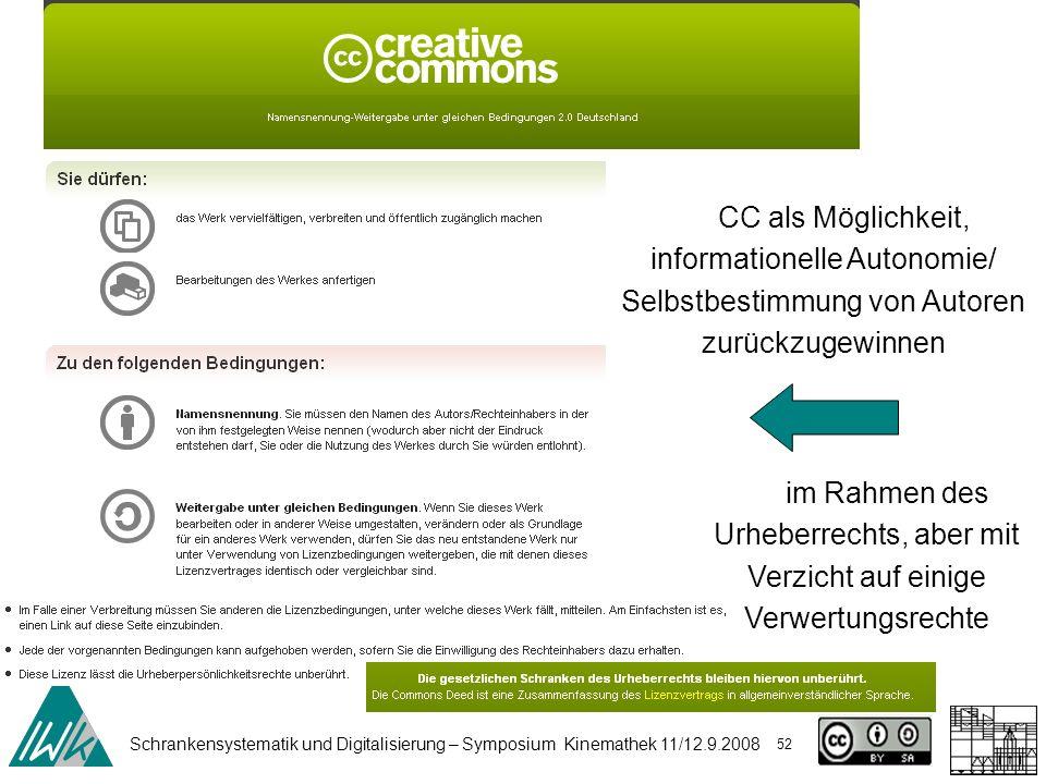 Schrankensystematik und Digitalisierung – Symposium Kinemathek 11/12.9.2008 52 CC als Möglichkeit, informationelle Autonomie/ Selbstbestimmung von Autoren zurückzugewinnen im Rahmen des Urheberrechts, aber mit Verzicht auf einige Verwertungsrechte