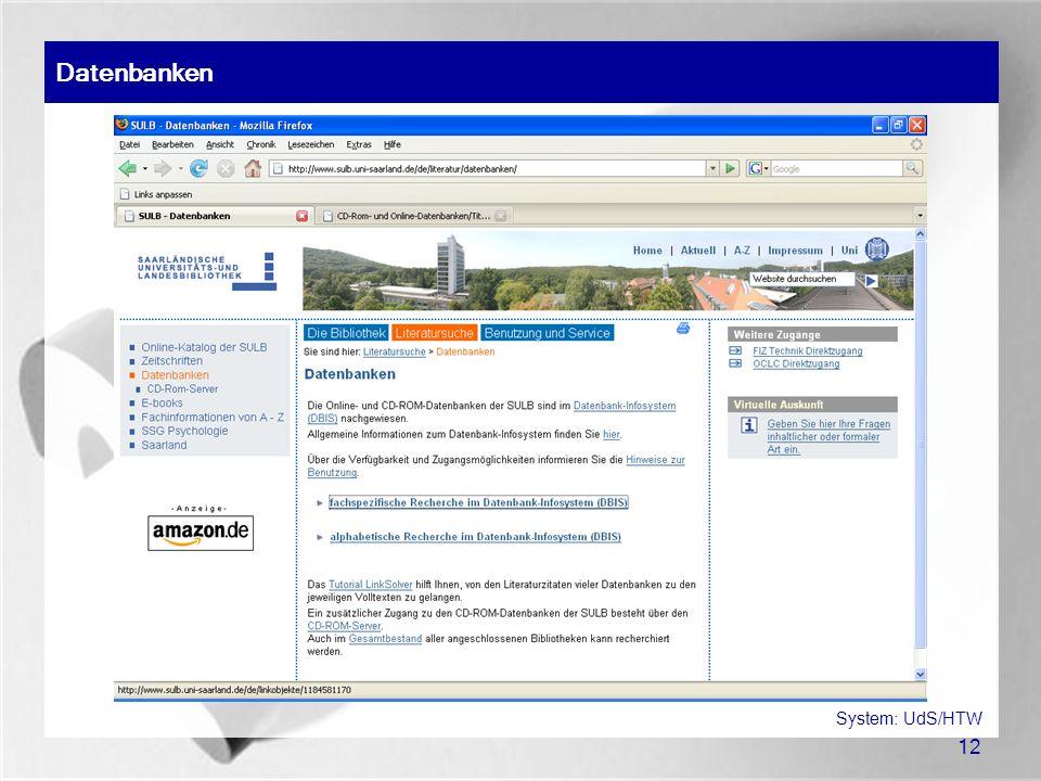 12 Datenbanken System: UdS/HTW