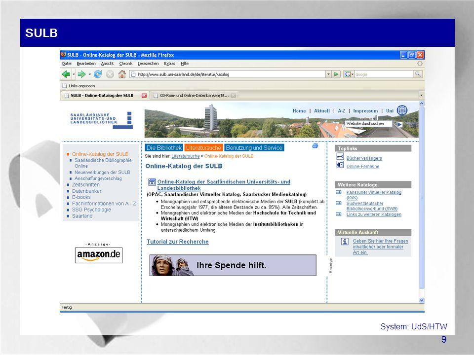 20 Verlage (Beispiel: Springer-Online) System: Springer