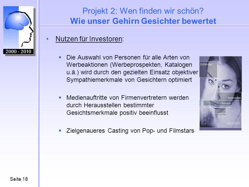 Seite18 Projekt 2: Wen finden wir schön? Wie unser Gehirn Gesichter bewertet Nutzen für Investoren: Die Auswahl von Personen für alle Arten von Werbea