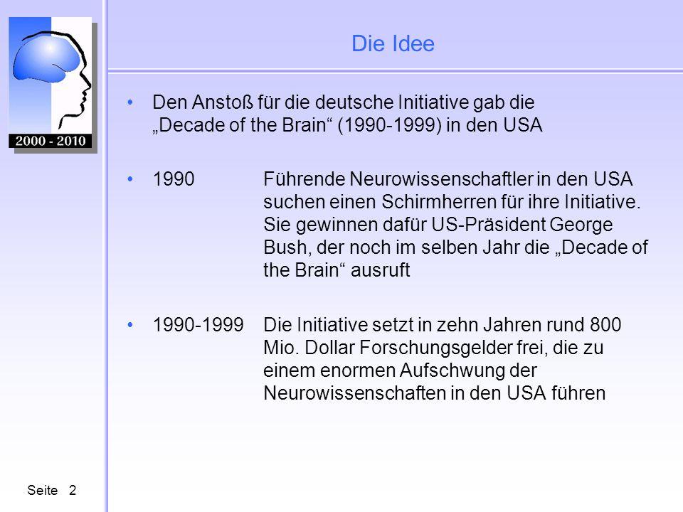 Seite2 Die Idee Den Anstoß für die deutsche Initiative gab die Decade of the Brain (1990-1999) in den USA 1990 Führende Neurowissenschaftler in den US