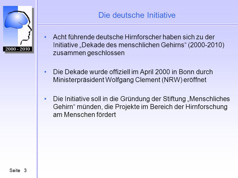 Seite3 Die deutsche Initiative Acht führende deutsche Hirnforscher haben sich zu der Initiative Dekade des menschlichen Gehirns (2000-2010) zusammen g