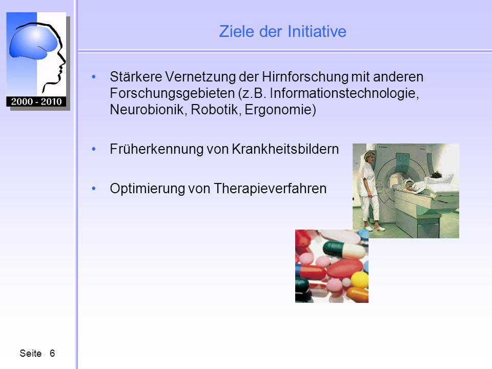 Seite6 Ziele der Initiative Stärkere Vernetzung der Hirnforschung mit anderen Forschungsgebieten (z.B. Informationstechnologie, Neurobionik, Robotik,