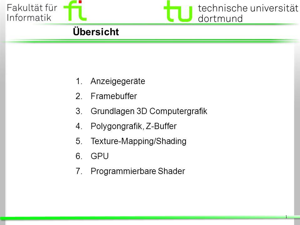 1 1.Anzeigegeräte 2.Framebuffer 3.Grundlagen 3D Computergrafik 4.Polygongrafik, Z-Buffer 5.Texture-Mapping/Shading 6.GPU 7.Programmierbare Shader Über