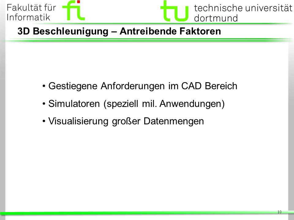 10 3D Beschleunigung – Antreibende Faktoren Gestiegene Anforderungen im CAD Bereich Simulatoren (speziell mil. Anwendungen) Visualisierung großer Date