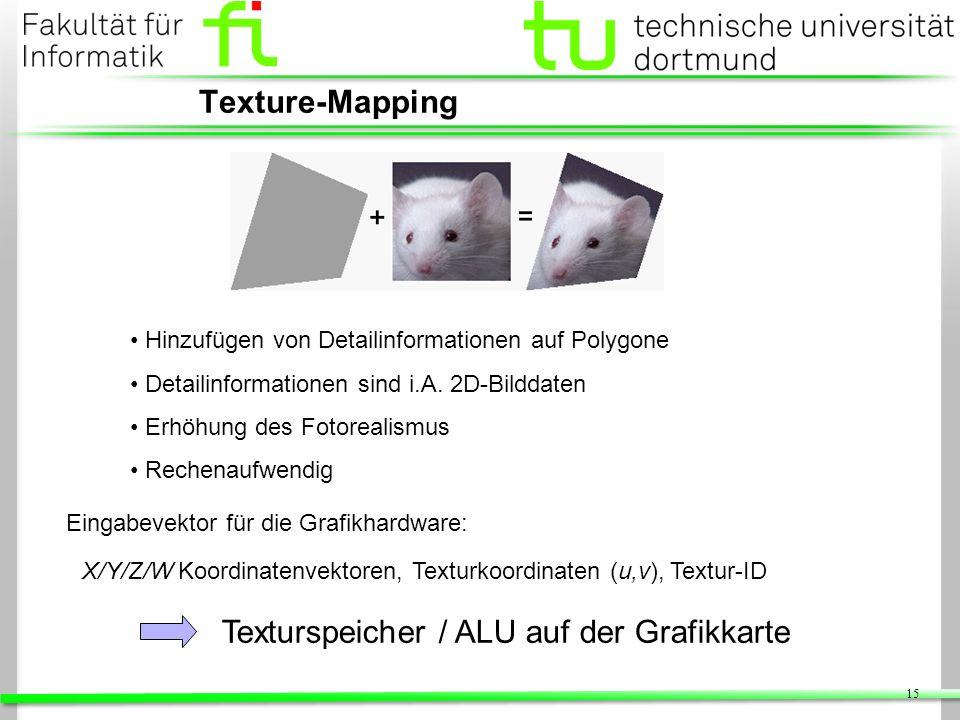 15 Texture-Mapping Hinzufügen von Detailinformationen auf Polygone Detailinformationen sind i.A. 2D-Bilddaten Erhöhung des Fotorealismus Rechenaufwend