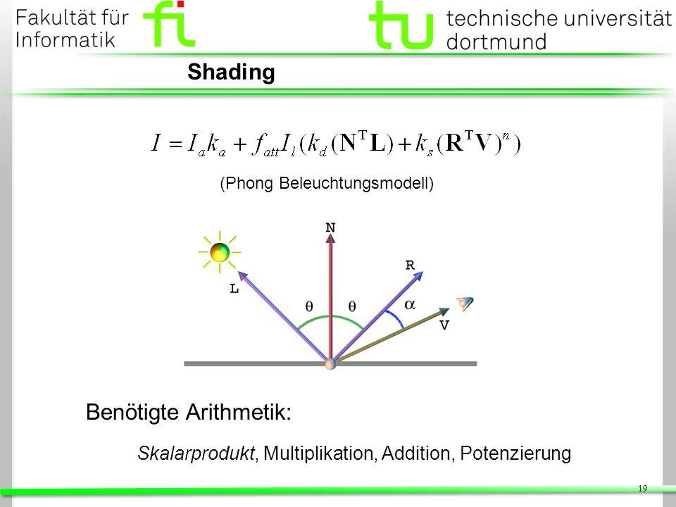 19 Shading Benötigte Arithmetik: Skalarprodukt, Multiplikation, Addition, Potenzierung (Phong Beleuchtungsmodell)