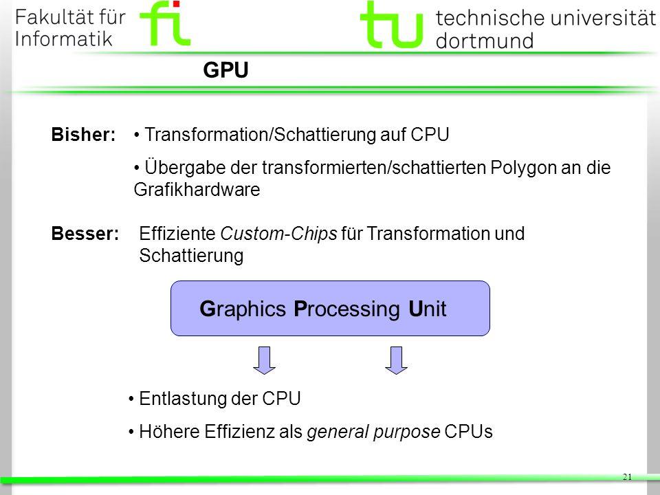 21 GPU Bisher: Graphics Processing Unit Effiziente Custom-Chips für Transformation und Schattierung Besser: Transformation/Schattierung auf CPU Überga