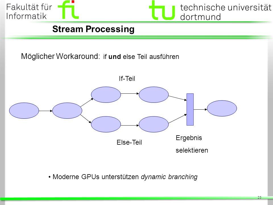 25 Stream Processing Möglicher Workaround: if und else Teil ausführen If-Teil Else-Teil Ergebnis selektieren Moderne GPUs unterstützen dynamic branchi