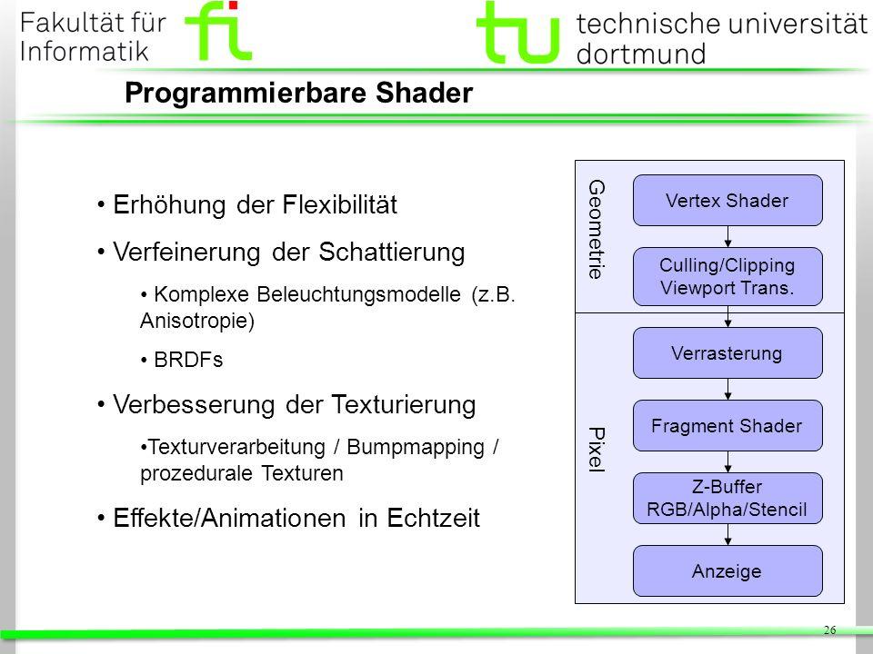 26 Programmierbare Shader Erhöhung der Flexibilität Verfeinerung der Schattierung Komplexe Beleuchtungsmodelle (z.B. Anisotropie) BRDFs Verbesserung d