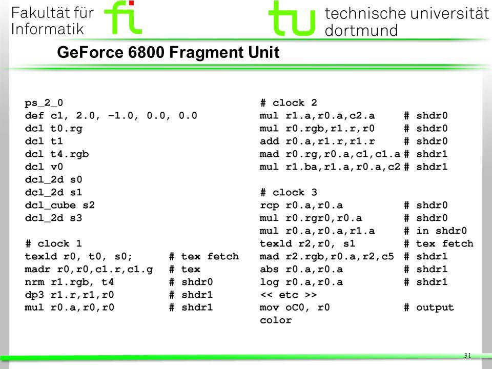 31 GeForce 6800 Fragment Unit