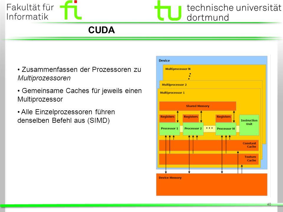 40 CUDA Zusammenfassen der Prozessoren zu Multiprozessoren Gemeinsame Caches für jeweils einen Multiprozessor Alle Einzelprozessoren führen denselben