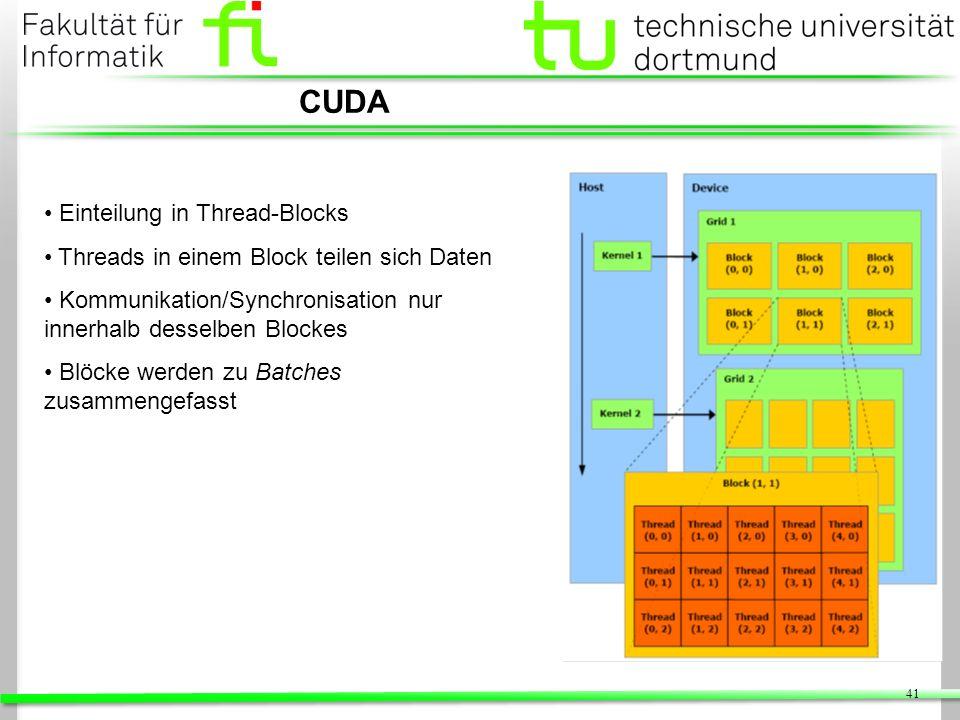 41 CUDA Einteilung in Thread-Blocks Threads in einem Block teilen sich Daten Kommunikation/Synchronisation nur innerhalb desselben Blockes Blöcke werd