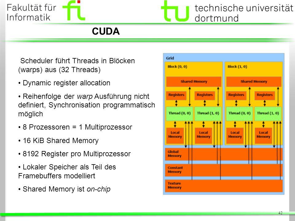 42 CUDA Scheduler führt Threads in Blöcken (warps) aus (32 Threads) Dynamic register allocation Reihenfolge der warp Ausführung nicht definiert, Synch