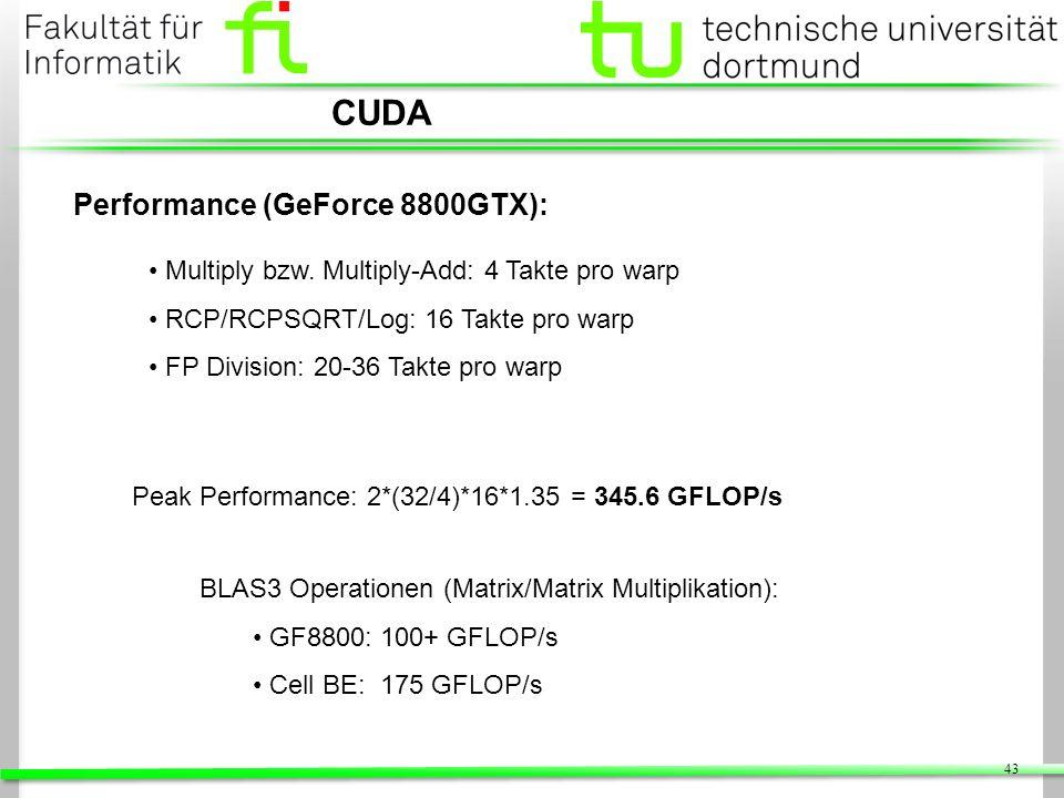 43 CUDA Performance (GeForce 8800GTX): Multiply bzw. Multiply-Add: 4 Takte pro warp RCP/RCPSQRT/Log: 16 Takte pro warp FP Division: 20-36 Takte pro wa