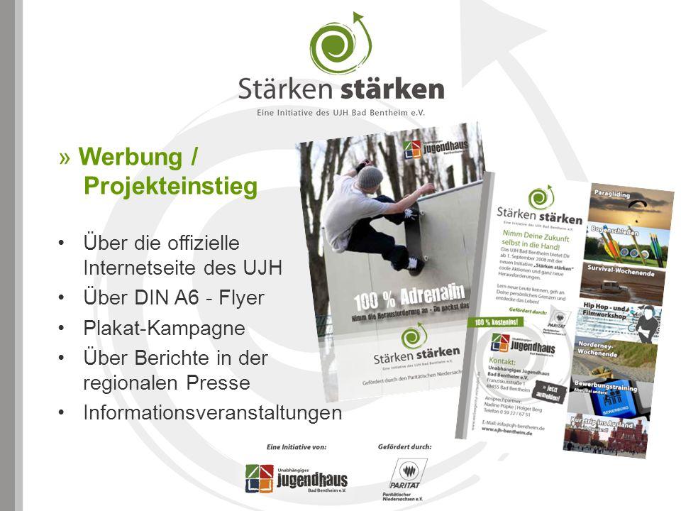 » Werbung / Projekteinstieg Über die offizielle Internetseite des UJH Über DIN A6 - Flyer Plakat-Kampagne Über Berichte in der regionalen Presse Infor
