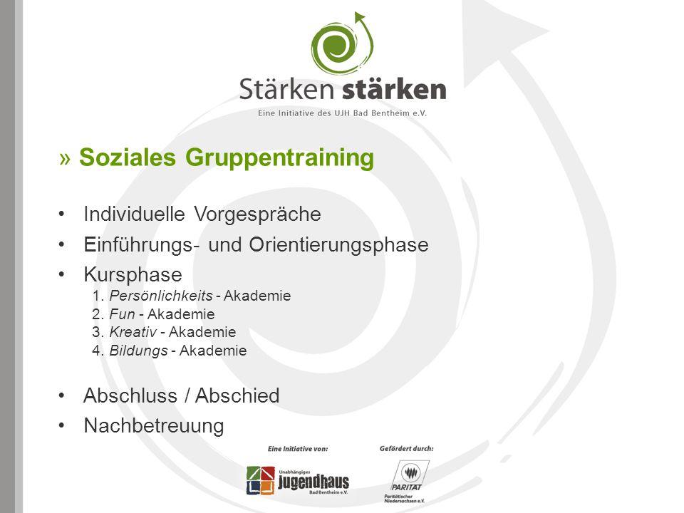 » Soziales Gruppentraining Individuelle Vorgespräche Einführungs- und Orientierungsphase Kursphase 1. Persönlichkeits - Akademie 2. Fun - Akademie 3.
