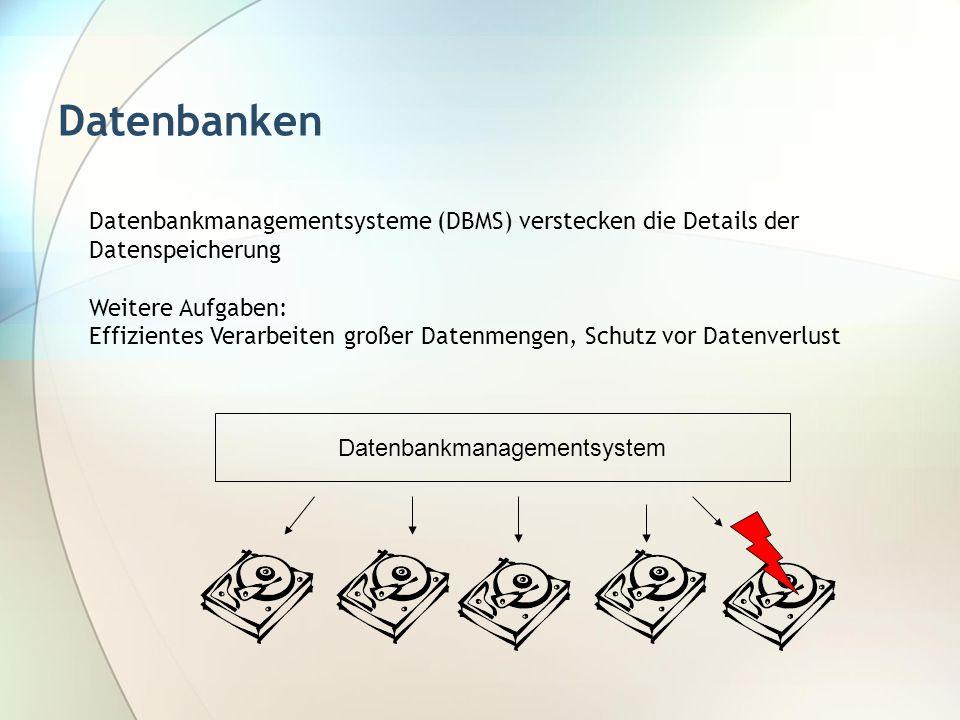 Datenbanken Datenbankmanagementsysteme (DBMS) verstecken die Details der Datenspeicherung Weitere Aufgaben: Effizientes Verarbeiten großer Datenmengen