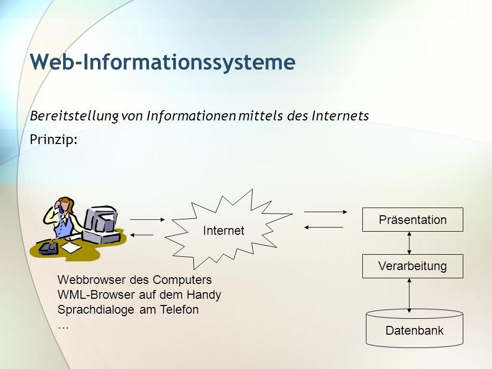 Web-Informationssysteme Bereitstellung von Informationen mittels des Internets Prinzip: Internet Präsentation Verarbeitung Datenbank Webbrowser des Co